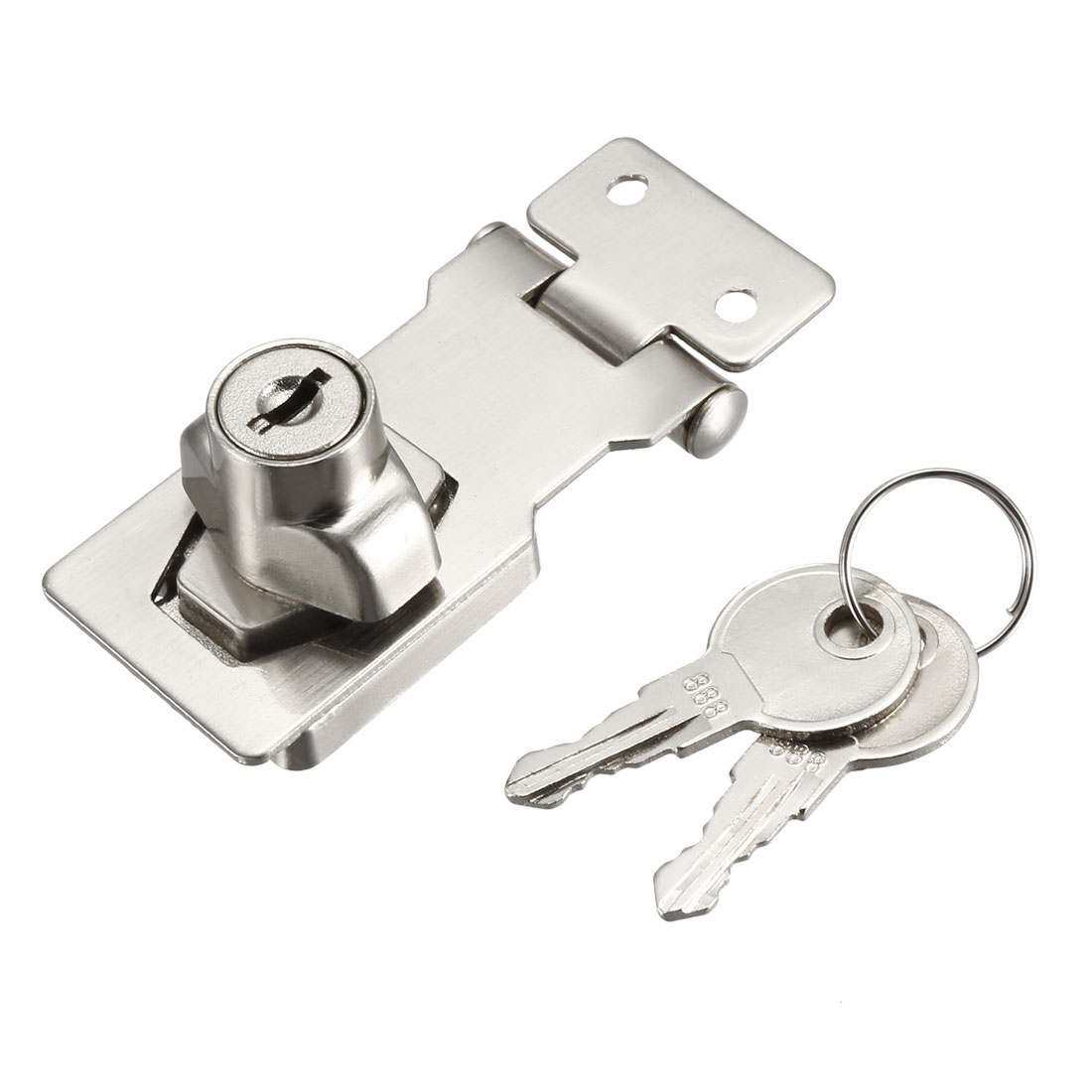 Keyed Hasp Lock 80mm Twist Knob Keyed Locking Hasp Keyed Alike Silver Tone