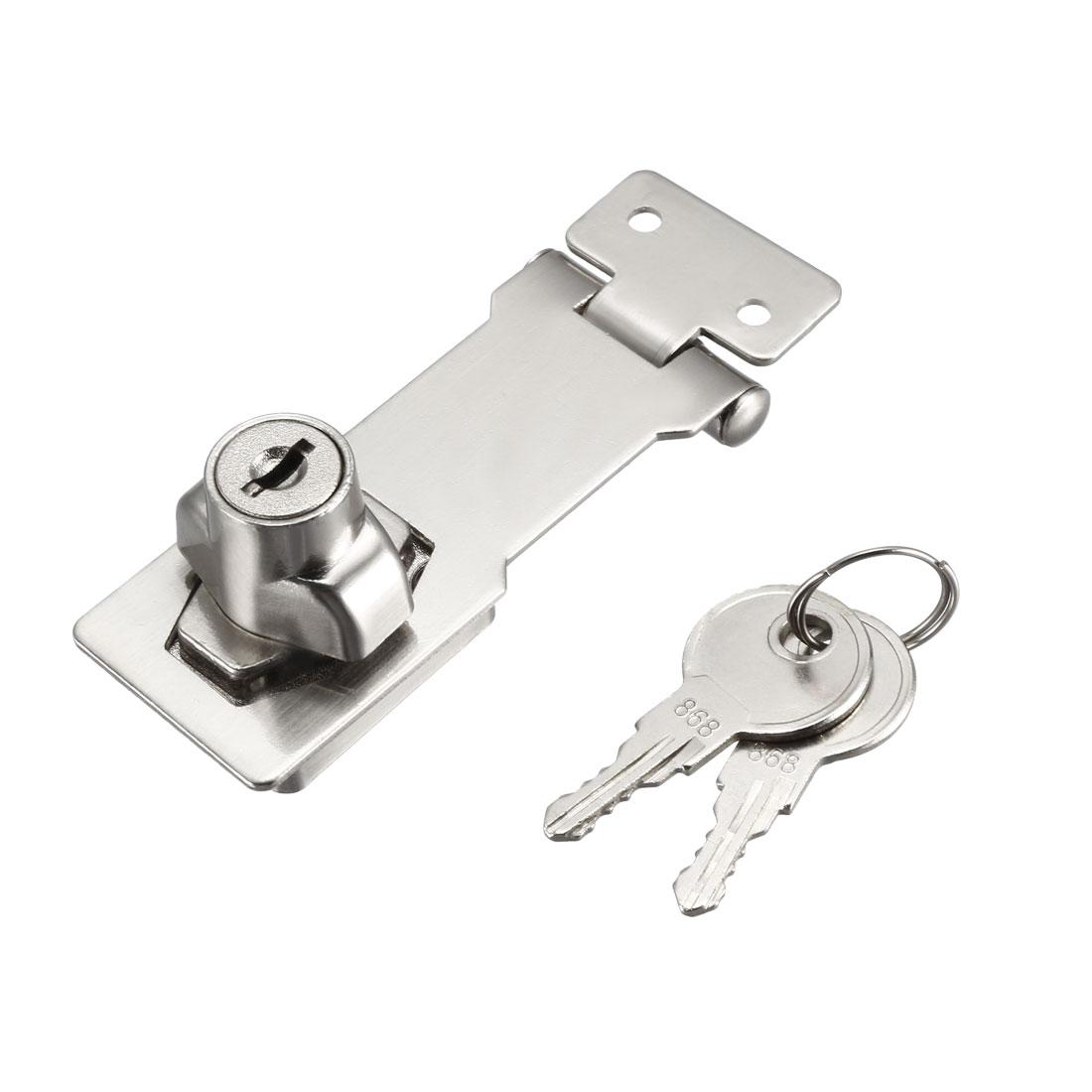 Keyed Hasp Lock 94mm Twist Knob Keyed Locking Hasp Silver Tone