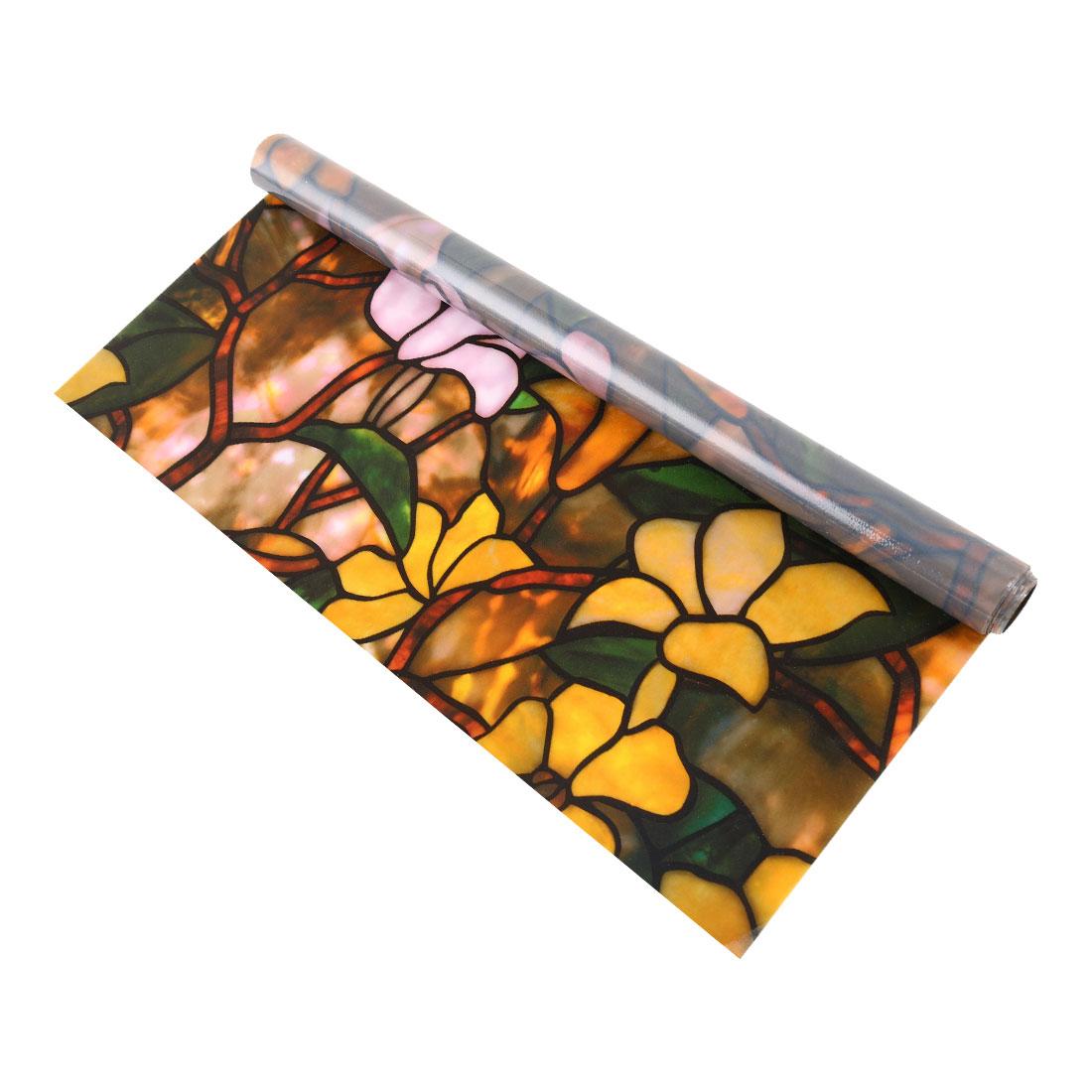 Home PVC 78.7 x 17.7inches Anti UV Window Film Sticker Yellow Flower Pattern