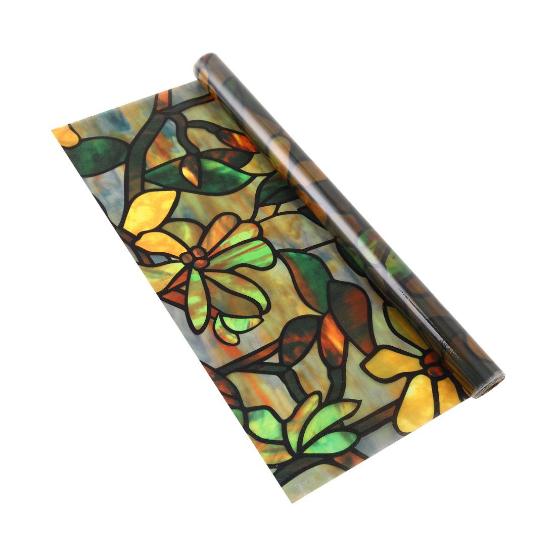 Home PVC 78.7 x 17.7inches Anti UV Glass Window Film Sticker Flower Tree Pattern