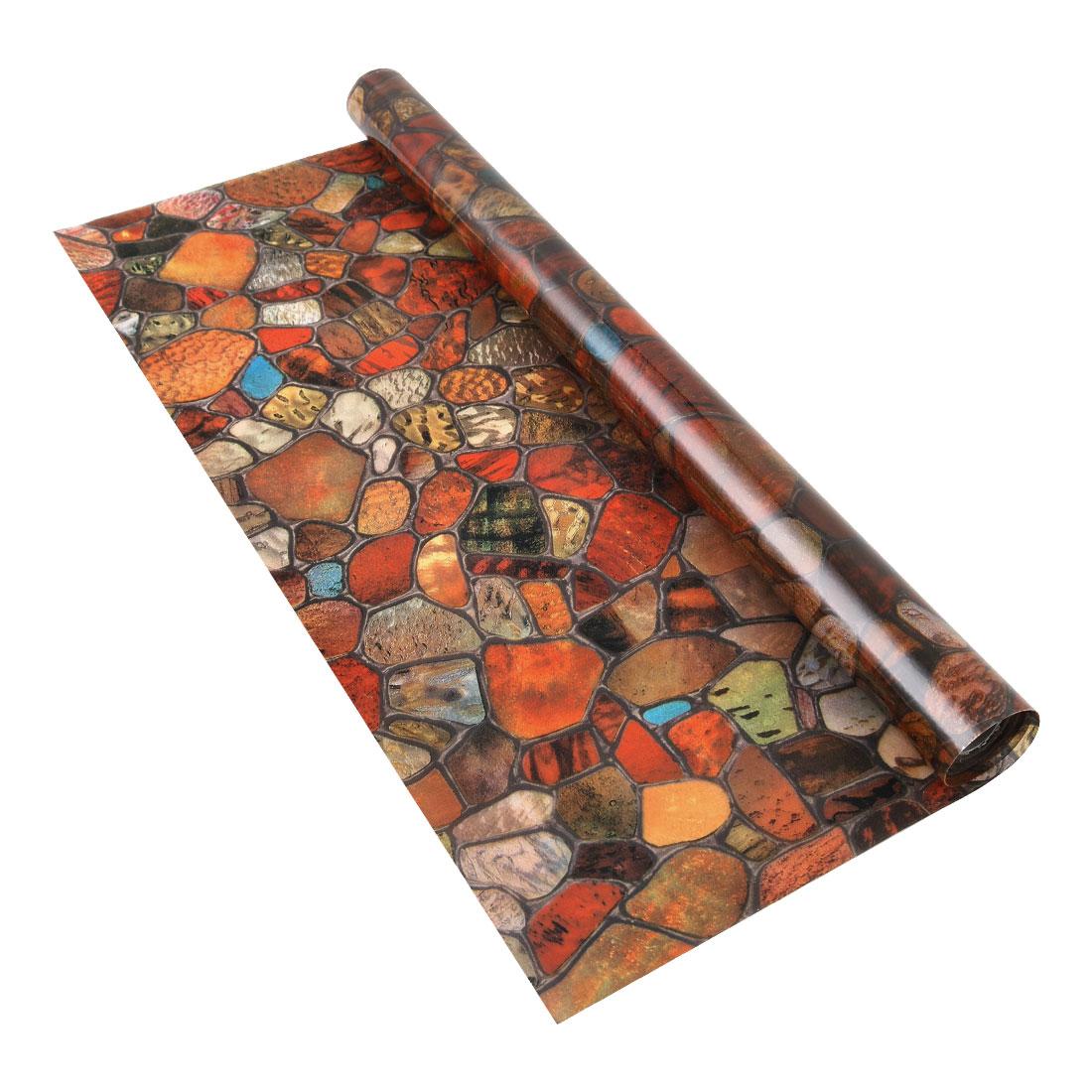 Home PVC 78.7 x 17.7inches Anti UV Glass Window Film Sticker Stone Pattern