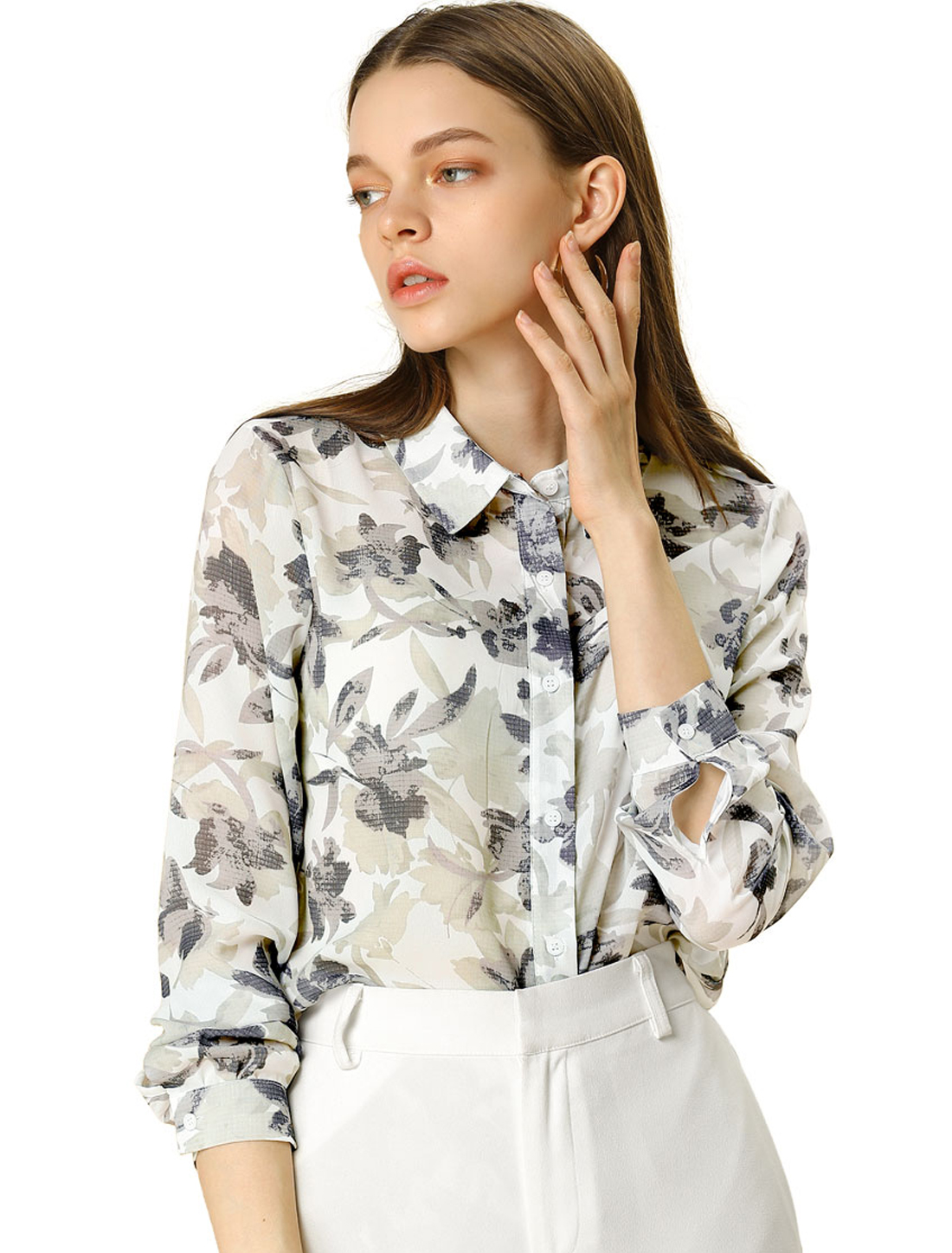 Allegra K Women's Floral Print Button Up Shirt Long Sleeves Vintage Top Gray L