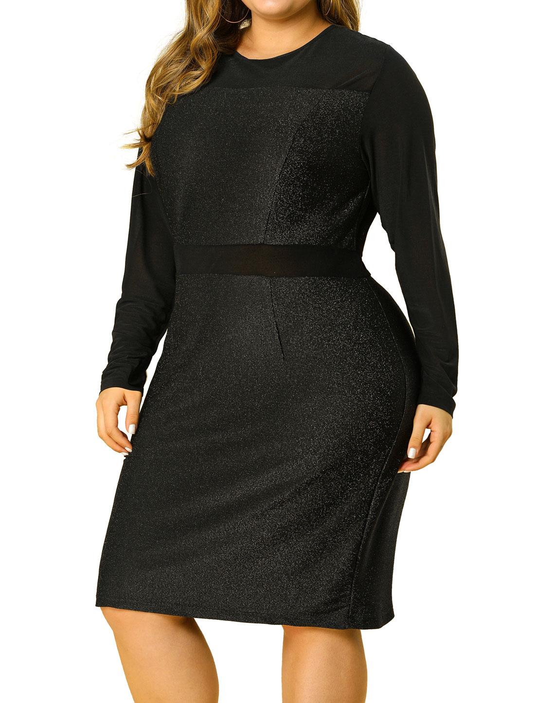 Women's Plus Size Above Knee Semi Sheer Mesh Sleeve Party Dress Black 3X