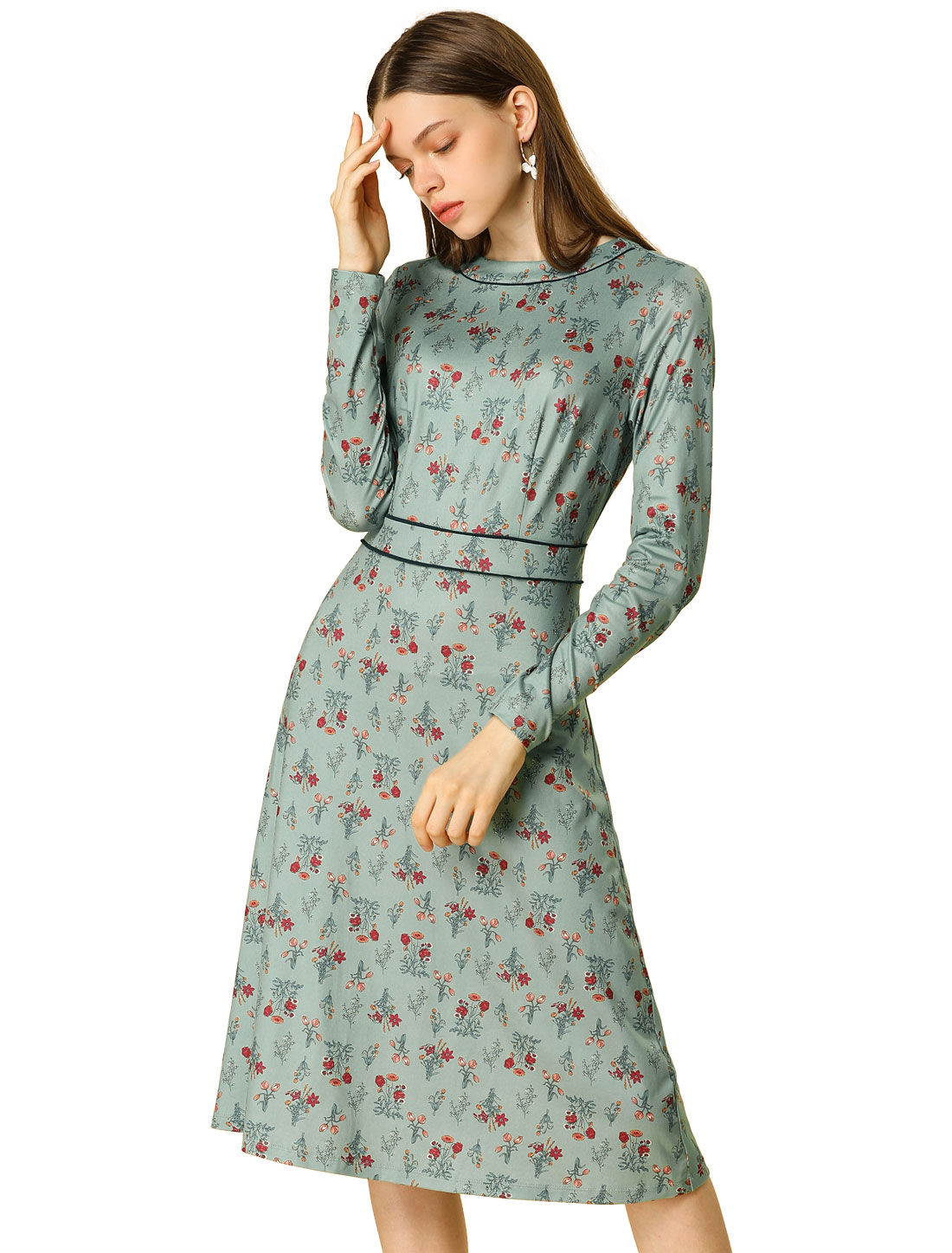 Women's Floral Long Sleeve A-Line Contrast Piped Vintage Dress Green XS