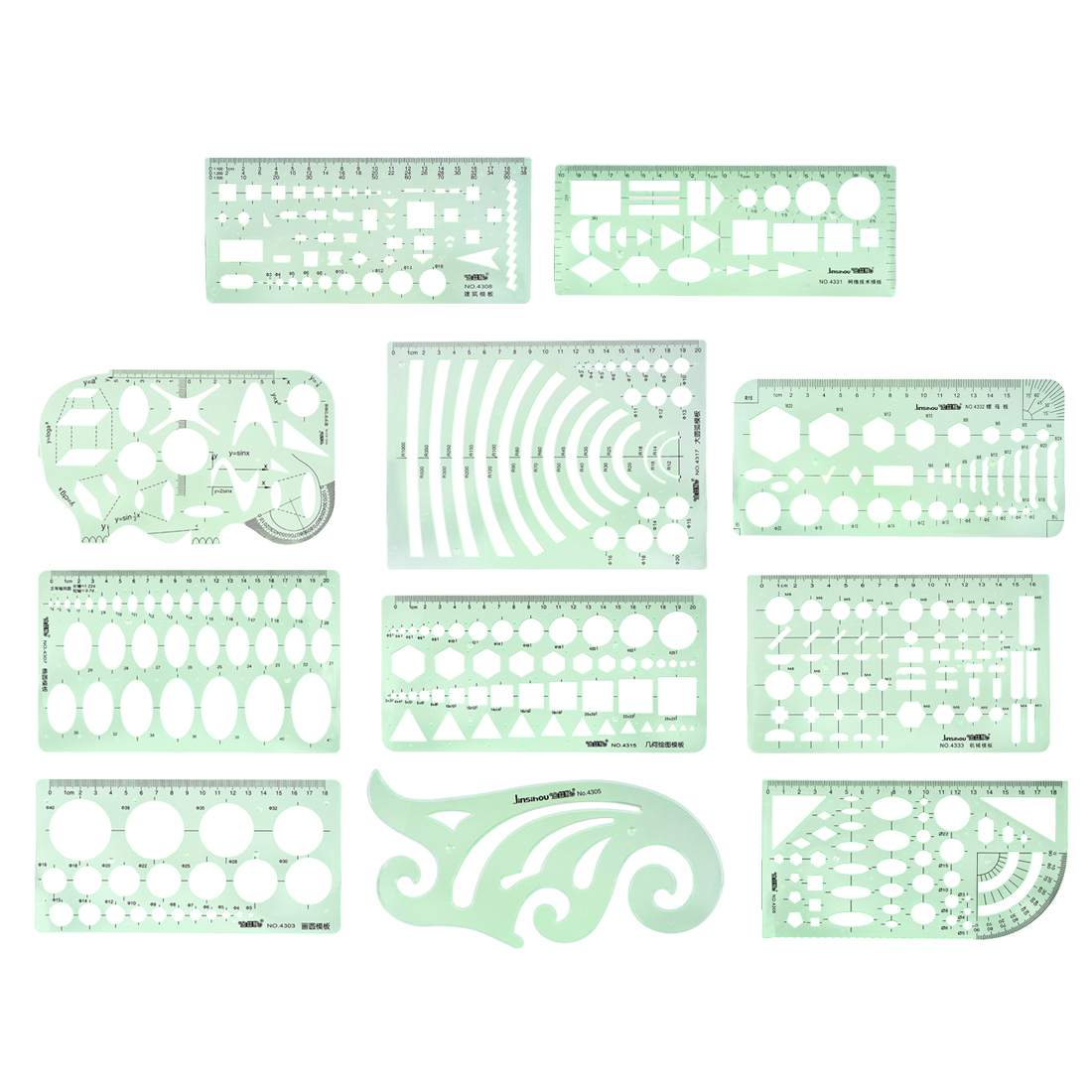 Geometric Drawing Template Measuring Ruler Green for Drawing Engineering 11pcs