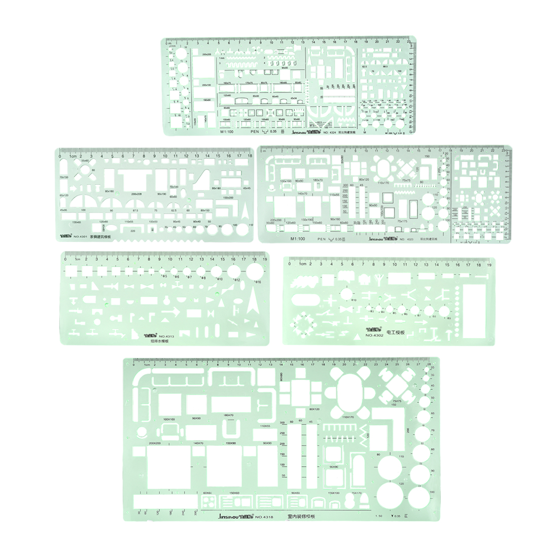 Geometric Drawing Template Measuring Ruler for Drawing Engineering 6pcs