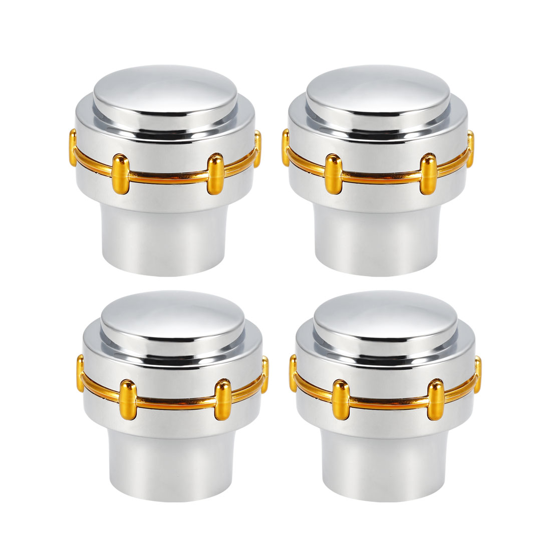 Faucet Knob Handle 33mm Dia Universal Replacement Handle Kit Silver Tone 4 Pcs