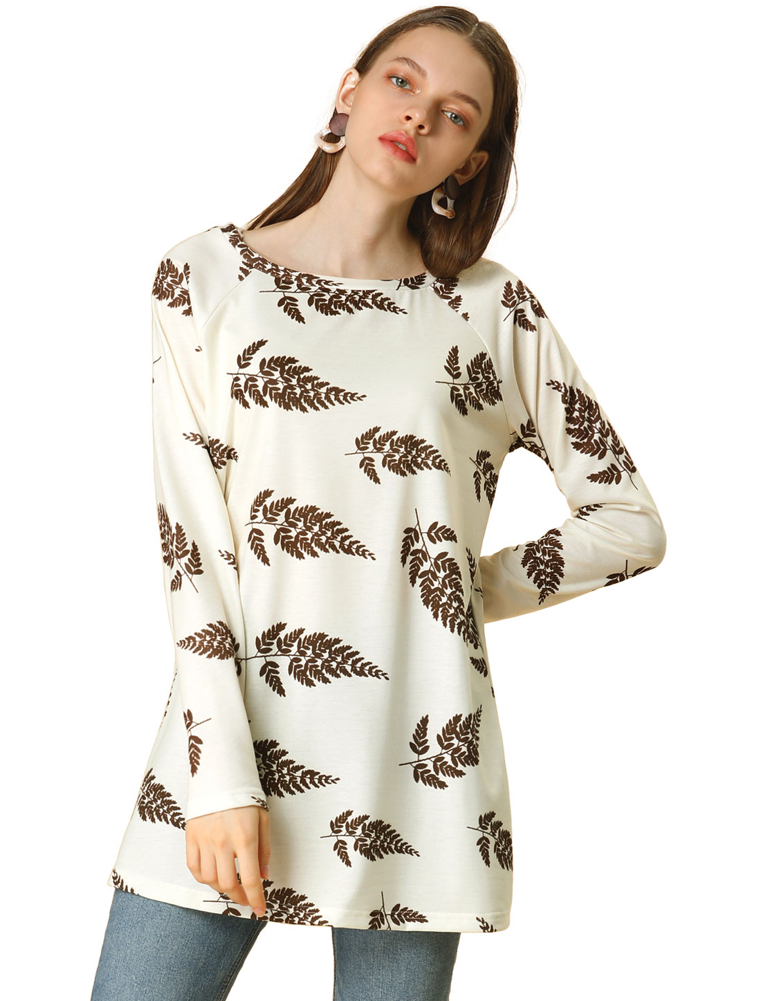 Allegra K Women's Leaf Print Raglan Loose Tunic Top Crem White L (US 14)