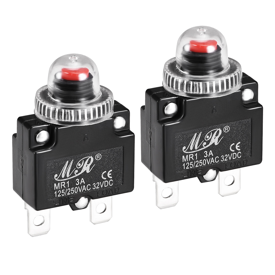 2 Pcs 3A 125/250V Push Button Reset Overload Protector Thermal Circuit Breaker