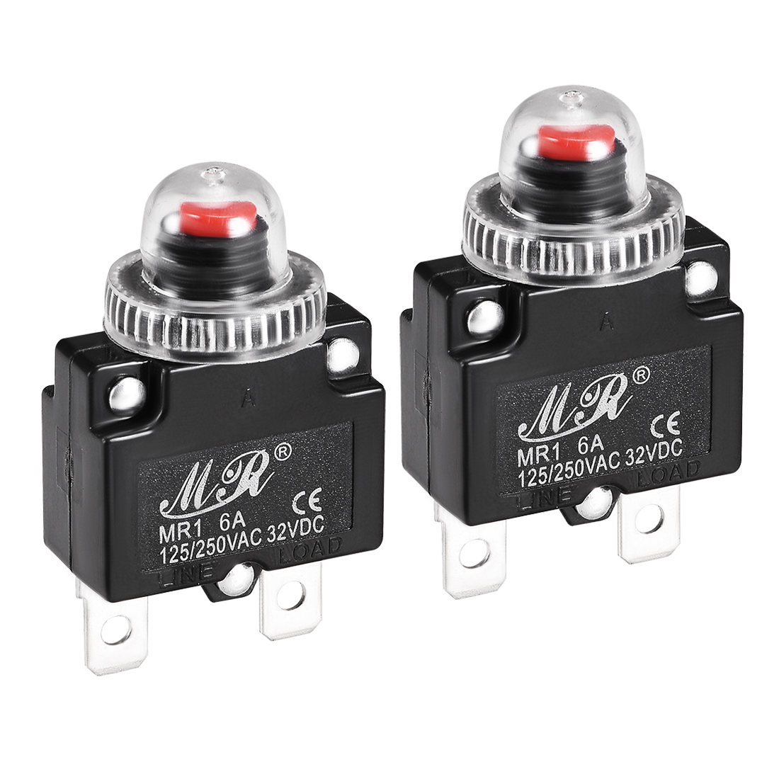 2 Pcs 6A 125/250V Push Button Reset Overload Protector Thermal Circuit Breaker