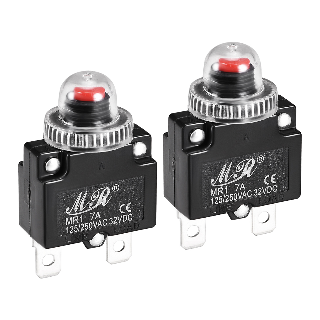 2 Pcs 7A 125/250V Push Button Reset Overload Protector Thermal Circuit Breaker