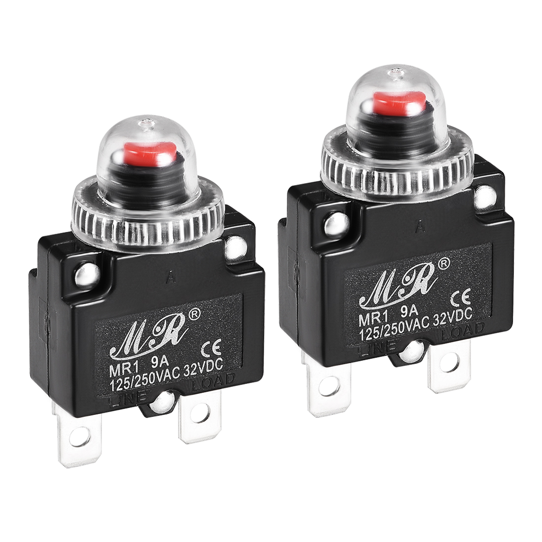 2 Pcs 9A 125/250V Push Button Reset Overload Protector Thermal Circuit Breaker