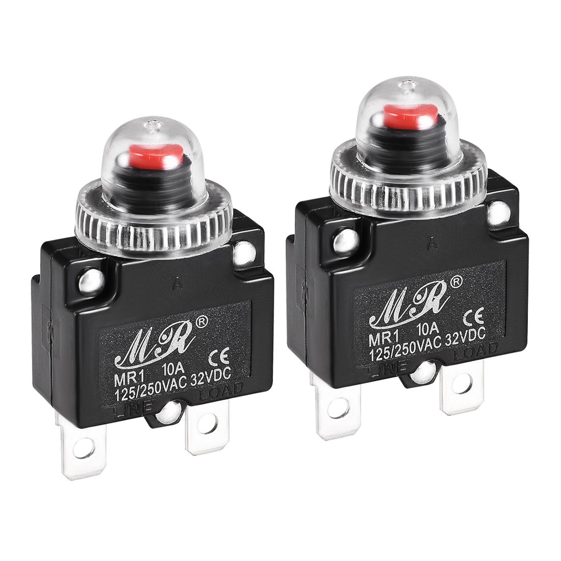 2 Pcs 10A 125/250V Push Button Reset Overload Protector Thermal Circuit Breaker
