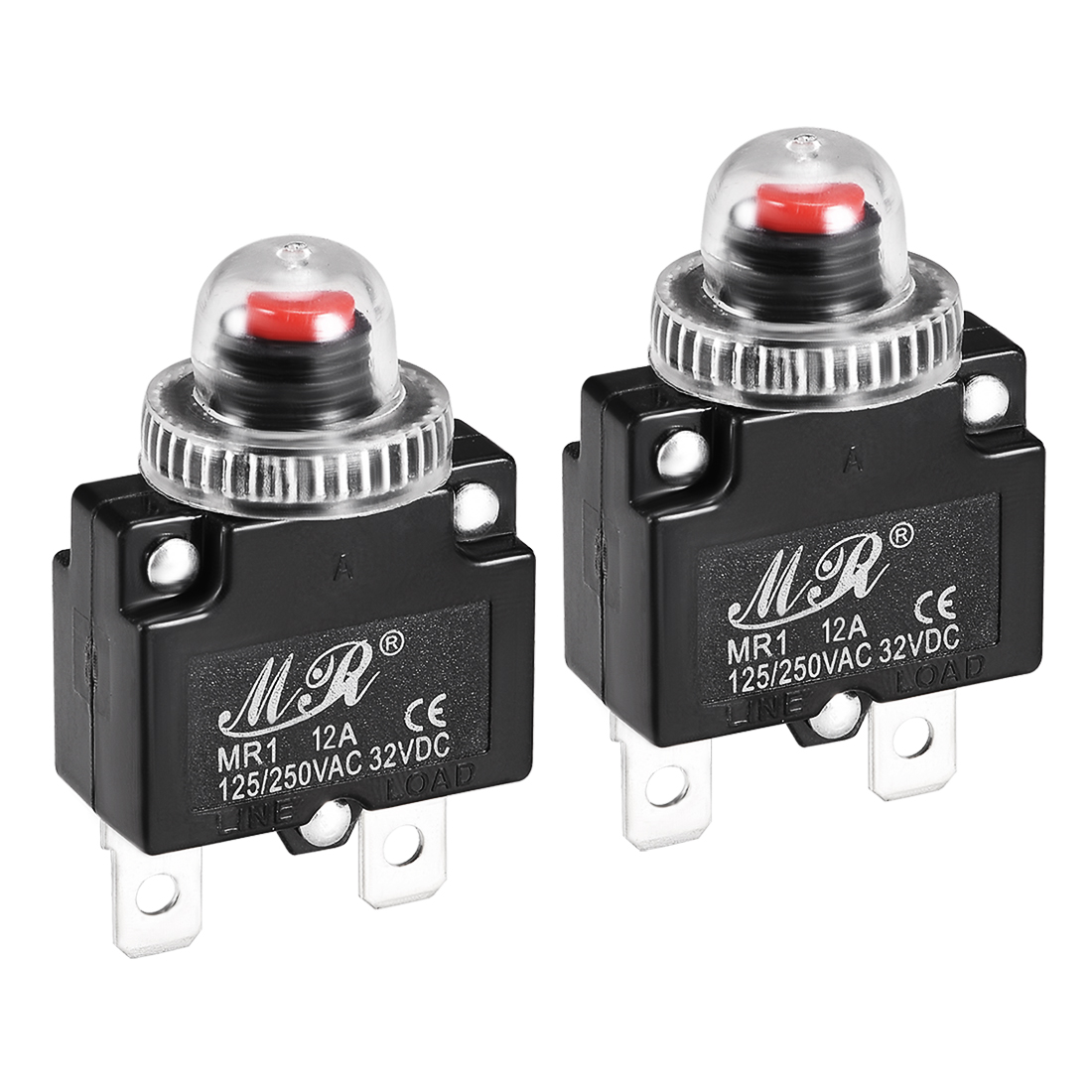 2 Pcs 12A 125/250V Push Button Reset Overload Protector Thermal Circuit Breaker
