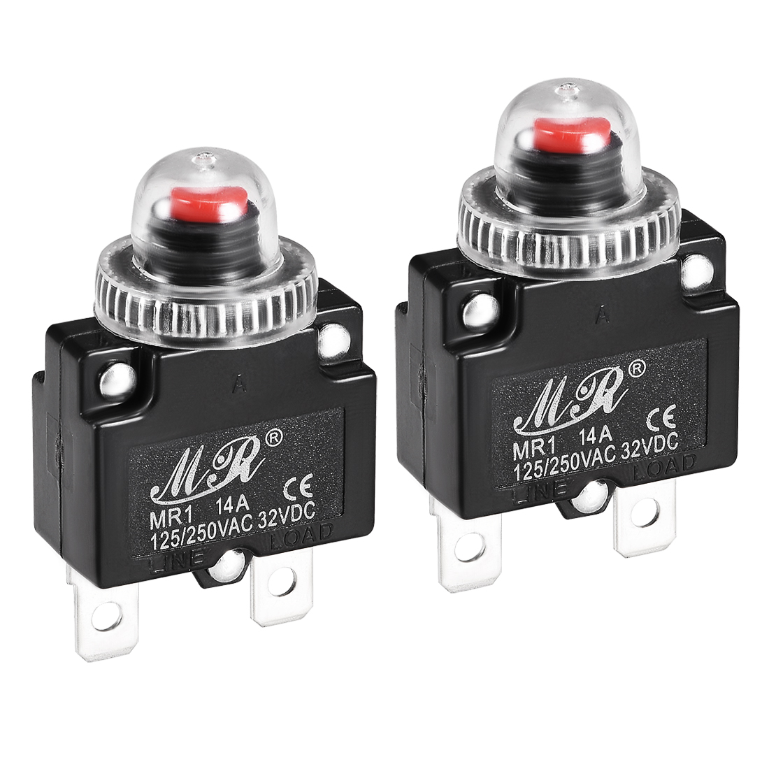 2 Pcs 14A 125/250V Push Button Reset Overload Protector Thermal Circuit Breaker