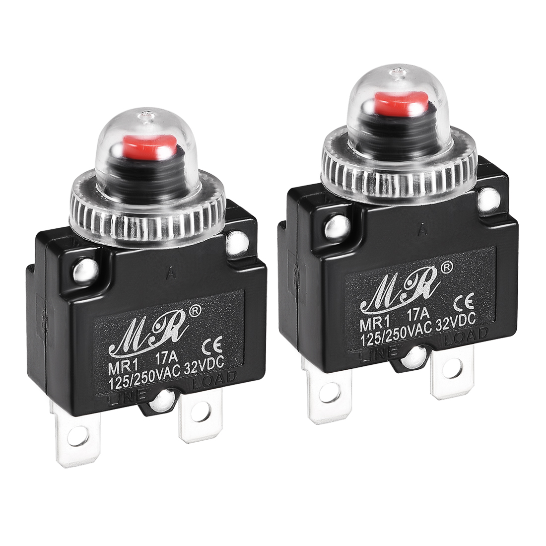 2 Pcs 17A 125/250V Push Button Reset Overload Protector Thermal Circuit Breaker