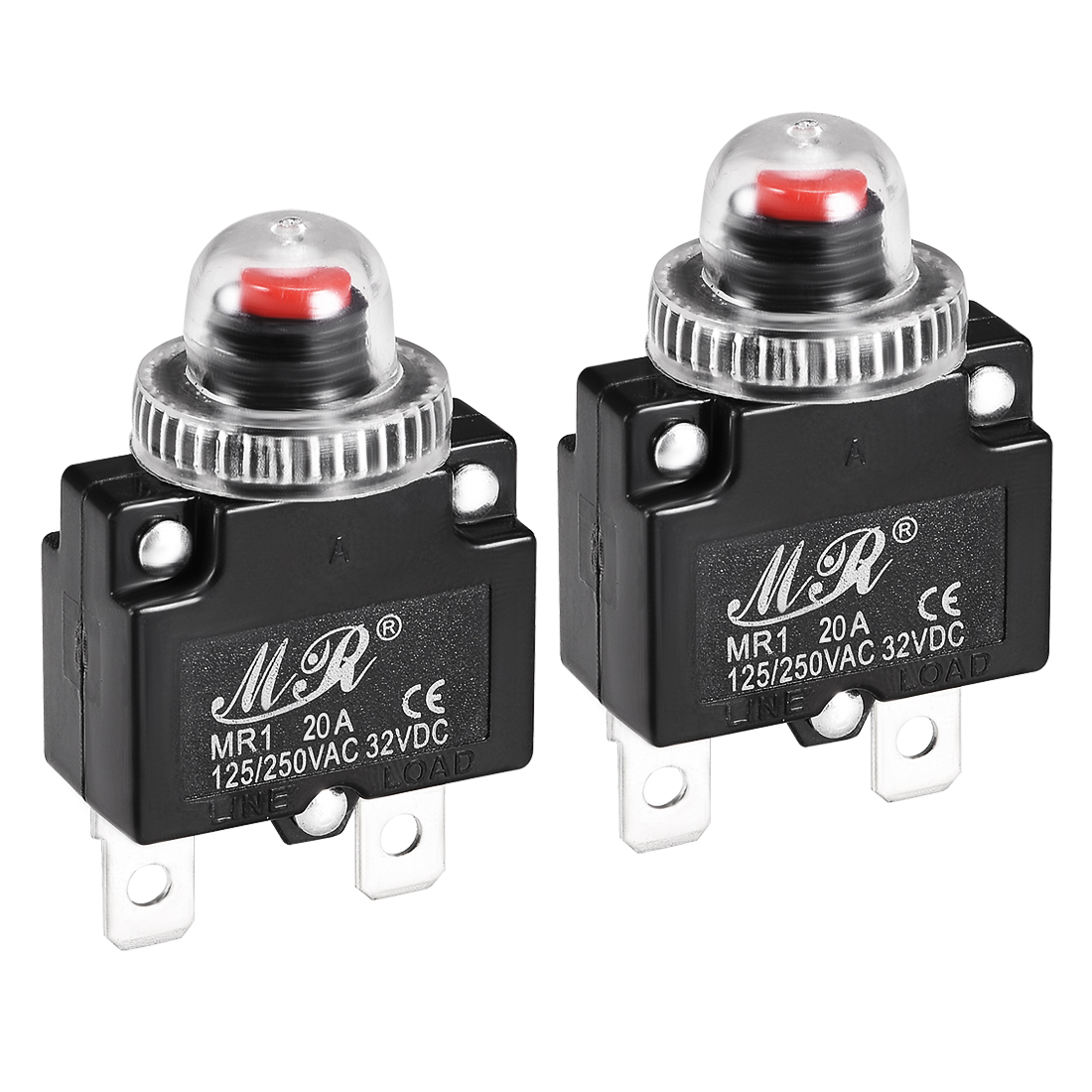 2 Pcs 20A 125/250V Push Button Reset Overload Protector Thermal Circuit Breaker
