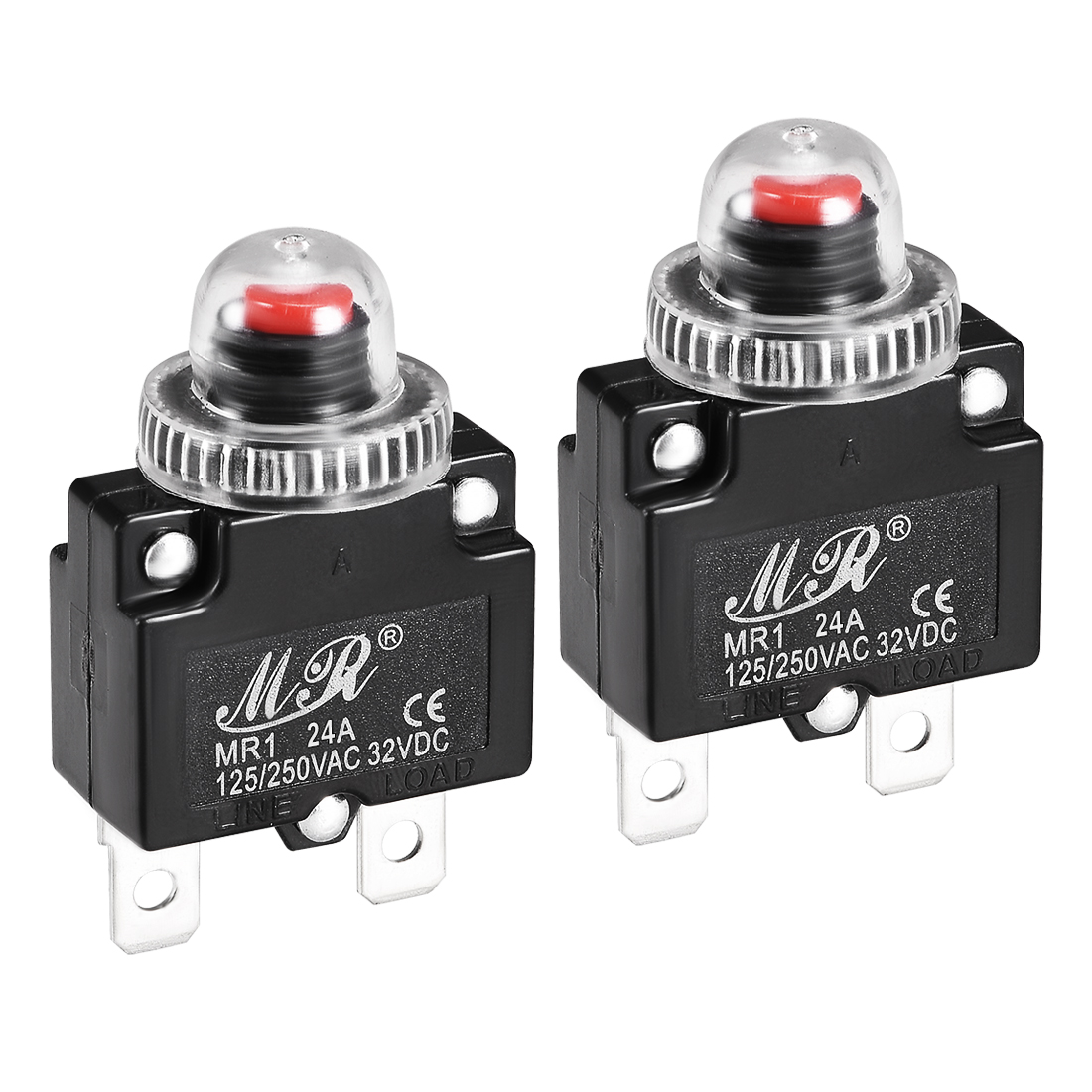 2 Pcs 24A 125/250V Push Button Reset Overload Protector Thermal Circuit Breaker
