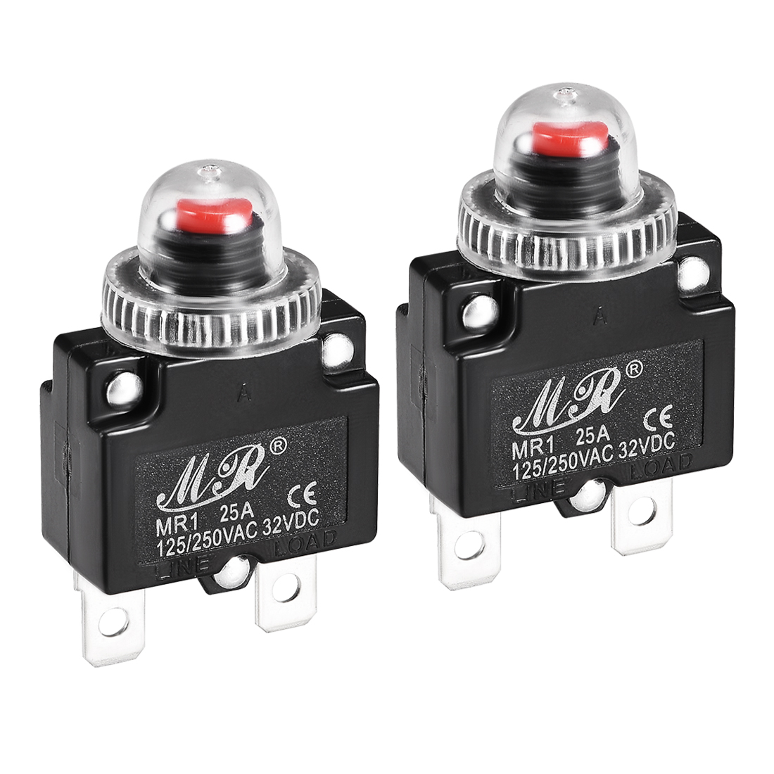 2 Pcs 25A 125/250V Push Button Reset Overload Protector Thermal Circuit Breaker
