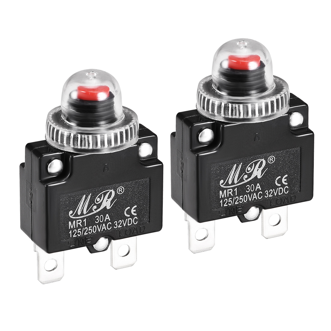 2 Pcs 30A 125/250V Push Button Reset Overload Protector Thermal Circuit Breaker