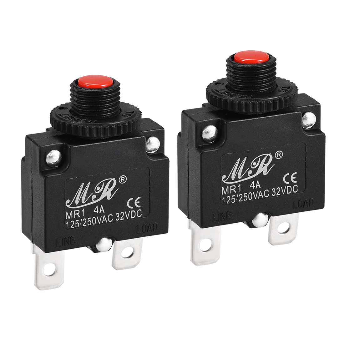 2 Pcs 4A Push Button Manual Reset Overload Protector Thermal Circuit Breakers