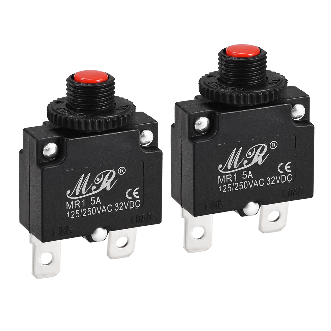 2 Pcs 5A Push Button Manual Reset Overload Protector Thermal Circuit Breakers