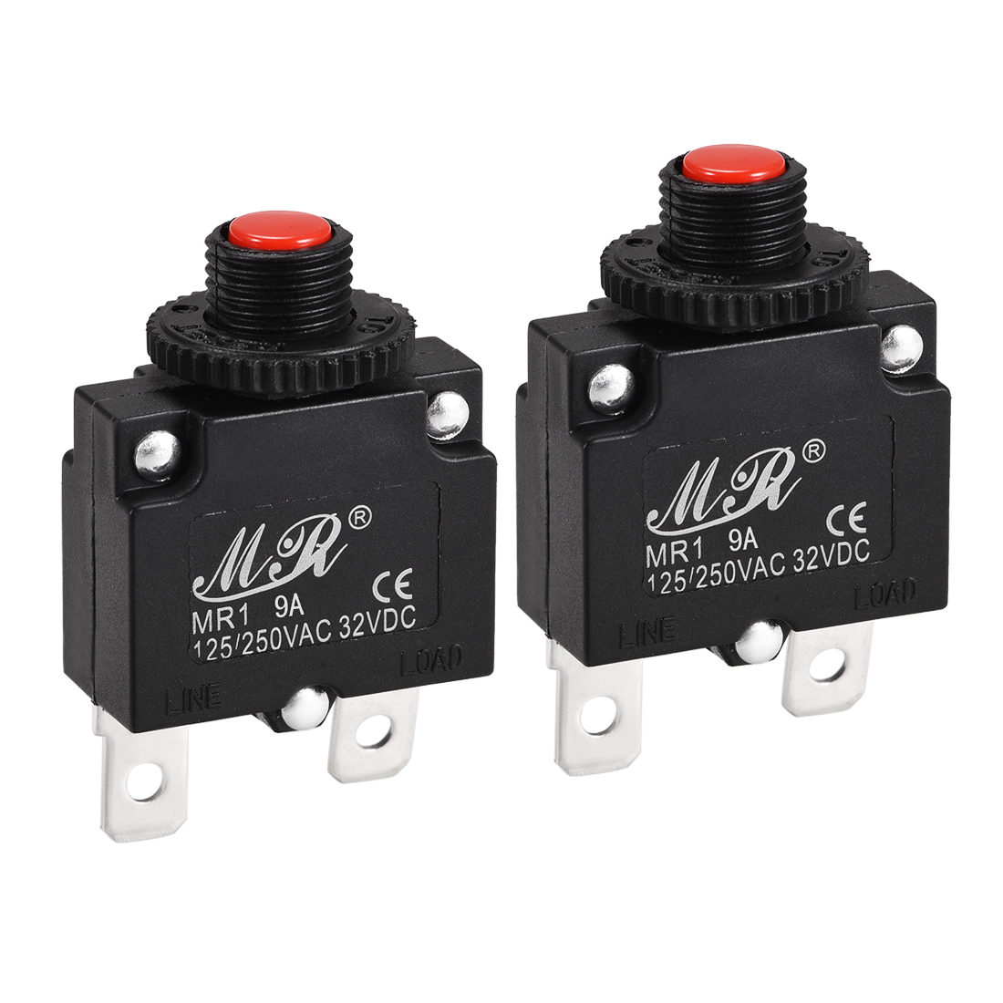 2 Pcs 9A Push Button Manual Reset Overload Protector Thermal Circuit Breakers