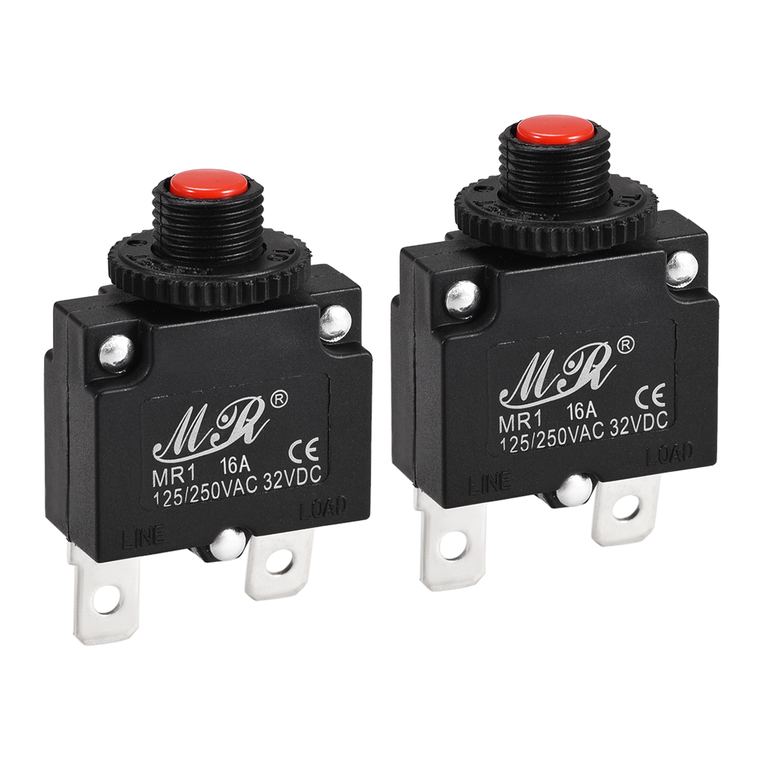 2 Pcs 16A Push Button Manual Reset Overload Protector Thermal Circuit Breakers