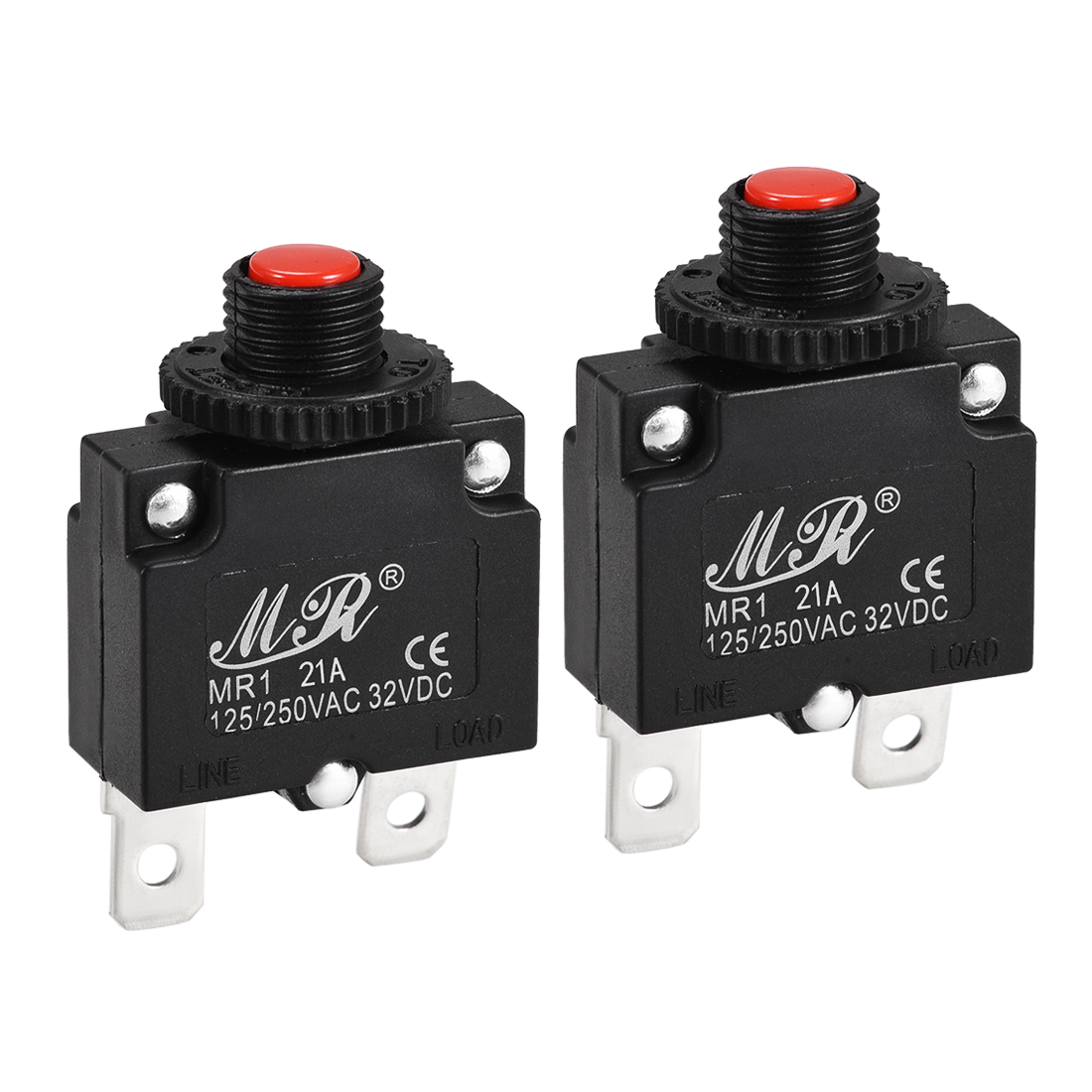 2 Pcs 21A Push Button Manual Reset Overload Protector Thermal Circuit Breakers