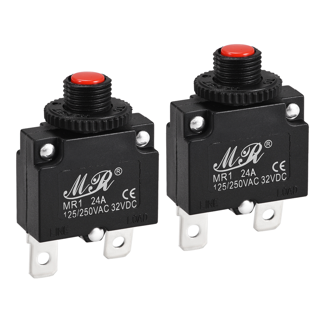 2 Pcs 24A Push Button Manual Reset Overload Protector Thermal Circuit Breakers