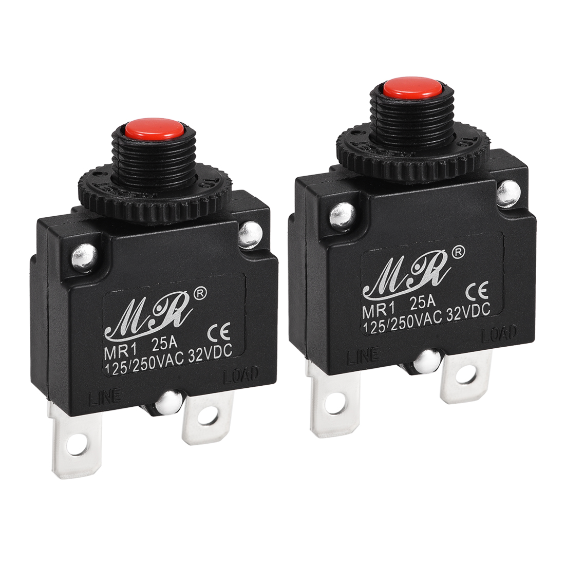 2 Pcs 25A Push Button Manual Reset Overload Protector Thermal Circuit Breakers