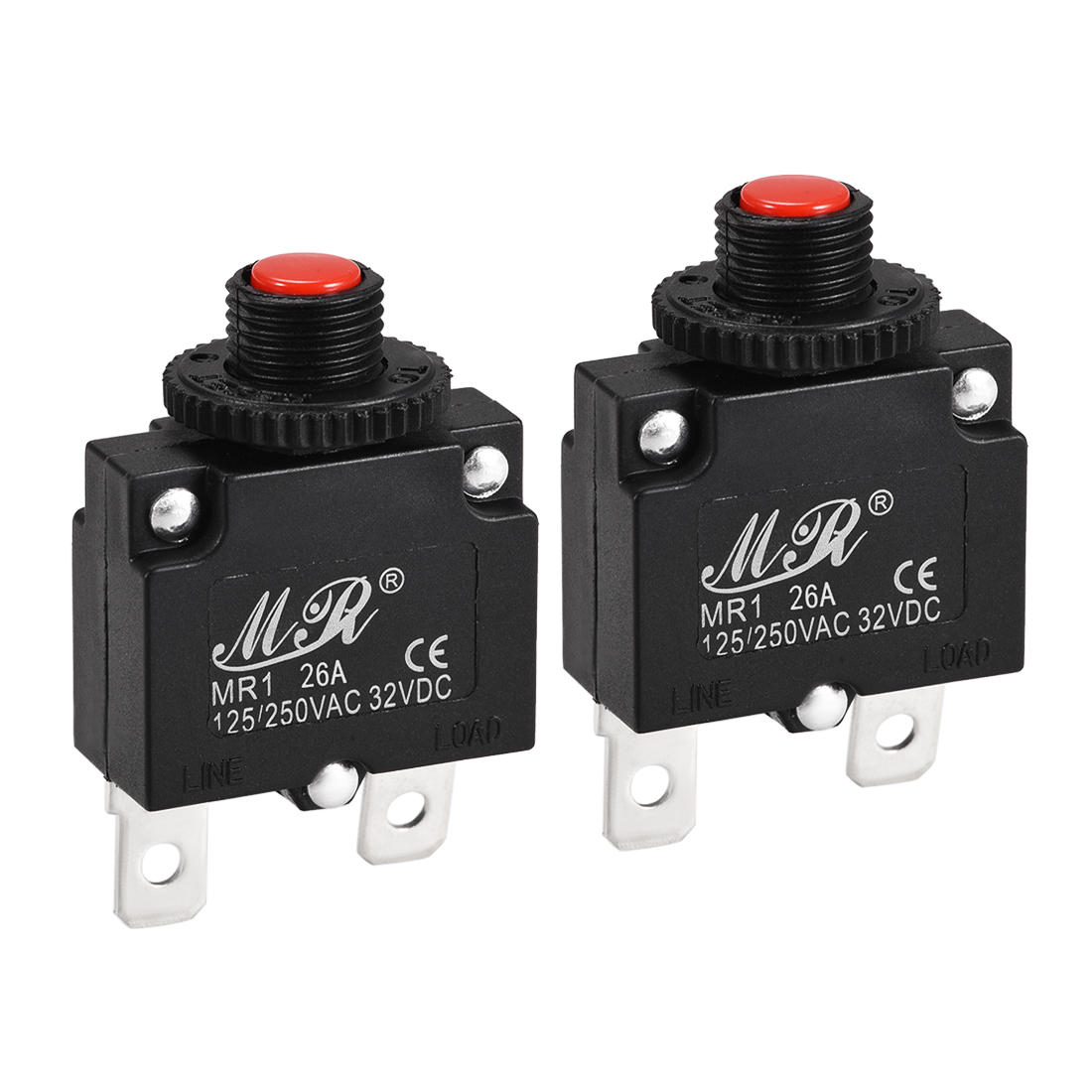 2 Pcs 26A Push Button Manual Reset Overload Protector Thermal Circuit Breakers