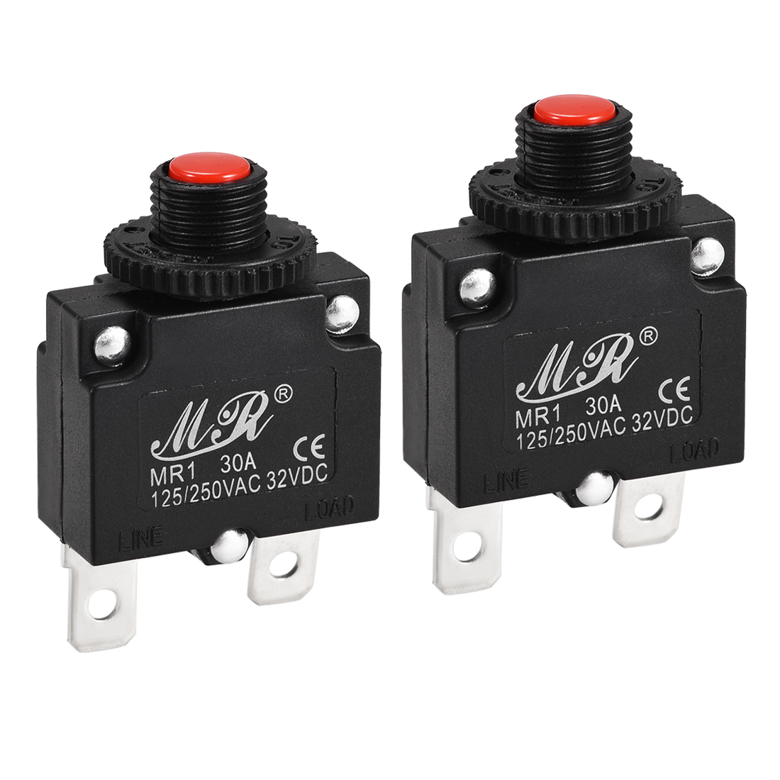 2 Pcs 30A Push Button Manual Reset Overload Protector Thermal Circuit Breakers