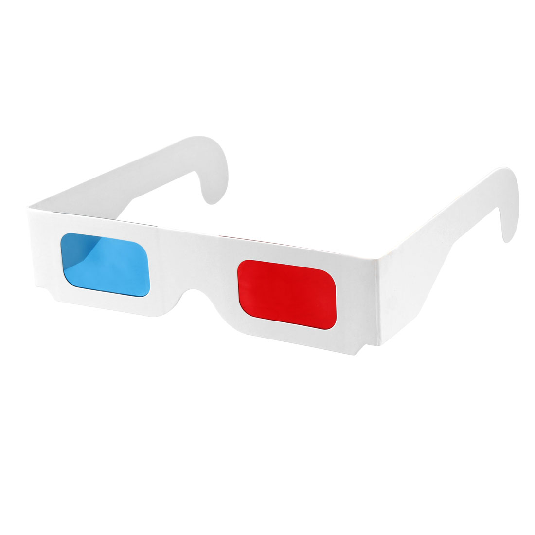 Red-Blue Cardboard Glasses WHITE Frame 3D Paper Glasses Anaglyph Cardboard 10pcs