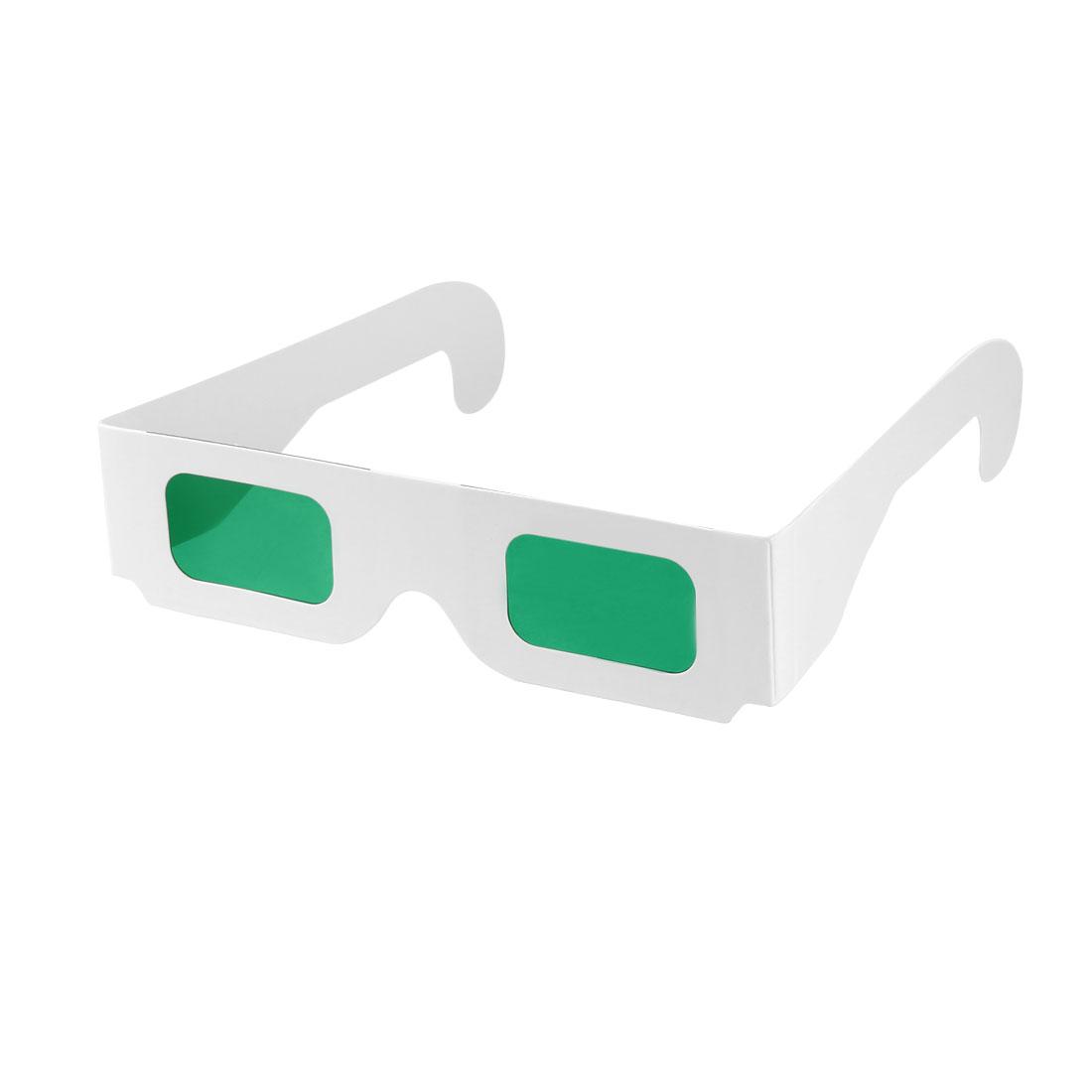 Secret Decoder Glasses Green Filter Lens White Foldable Frame 3D Glasses 20pcs