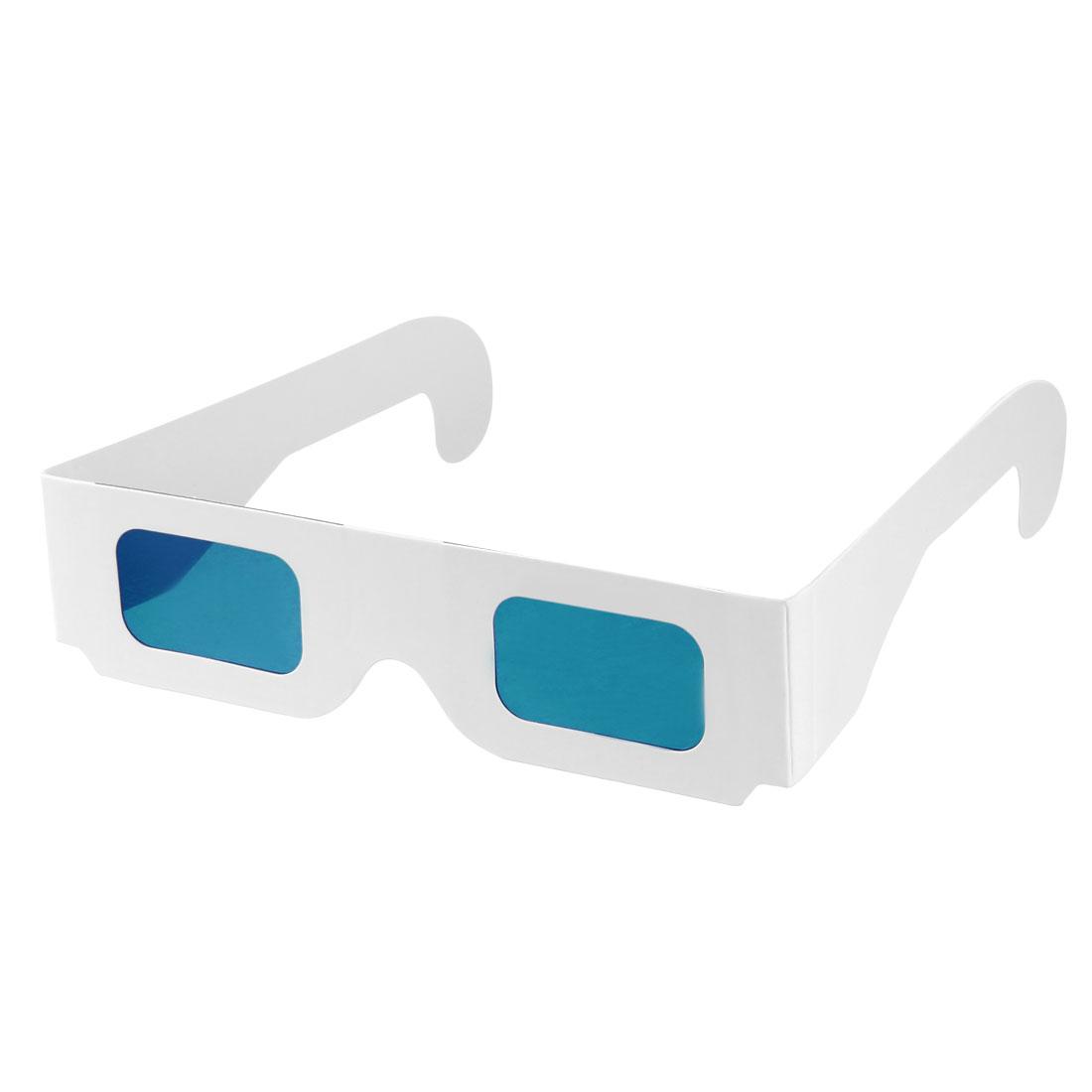 Secret Decoder Glasses Blue Filter Lens White Foldable Frame 3D Glasses 10pcs