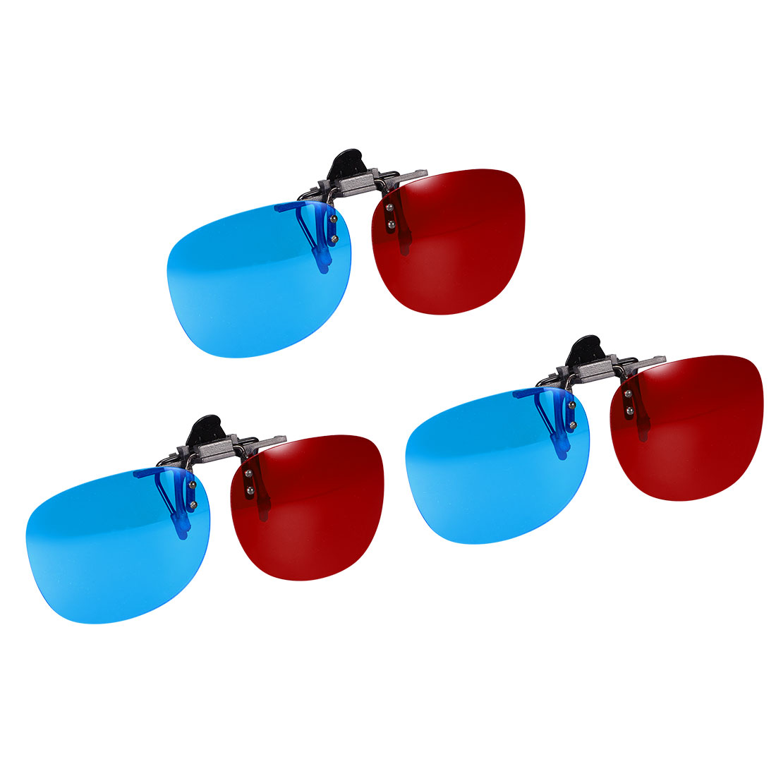 Red-Blue Anaglyph 3D Clip-on Glasses for Movies 3D Print TV Anaglyph Photos 3pcs
