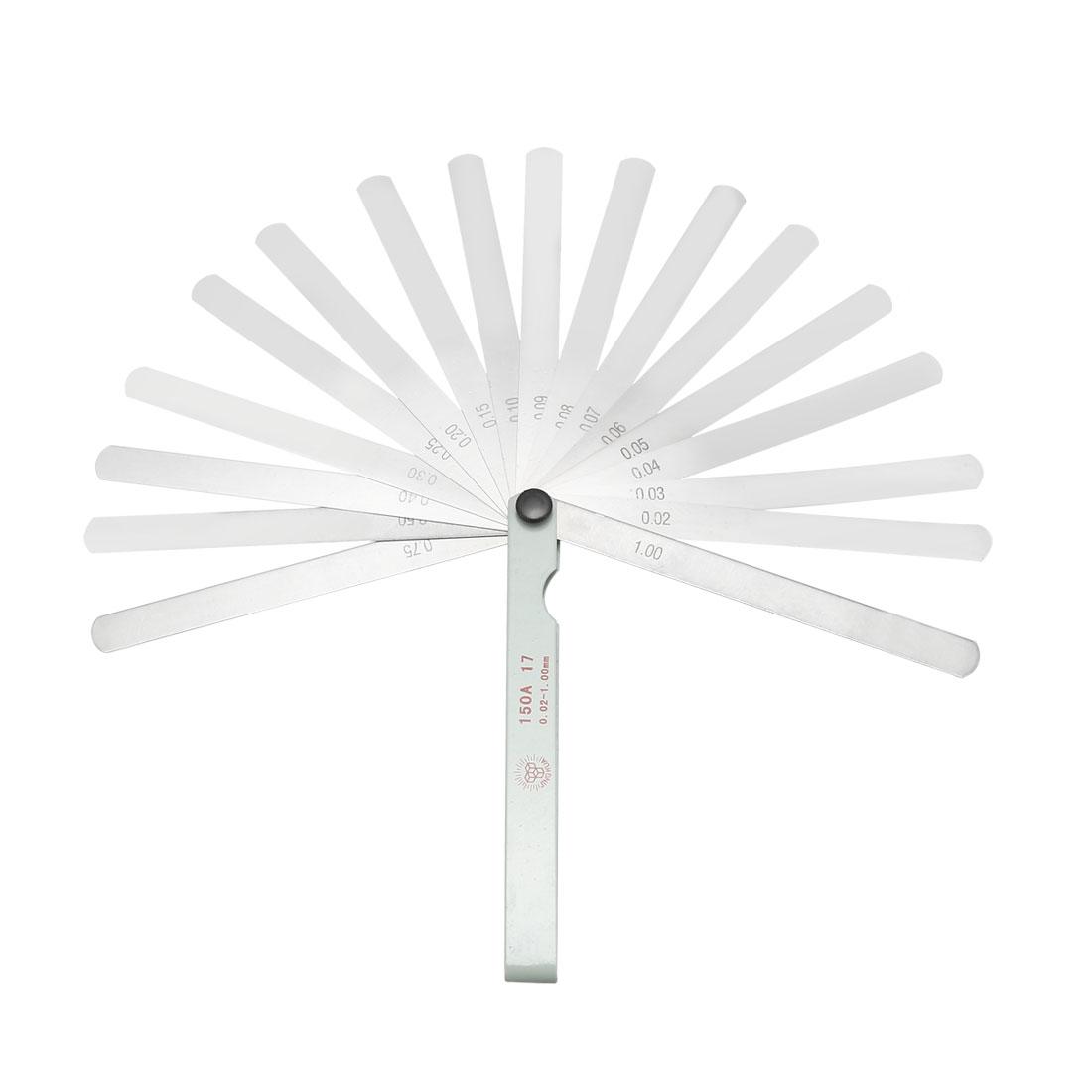 Metric Thickness Feeler Gauge 0.02-1mm 17 Blade Measuring Gap Width Mn Steel