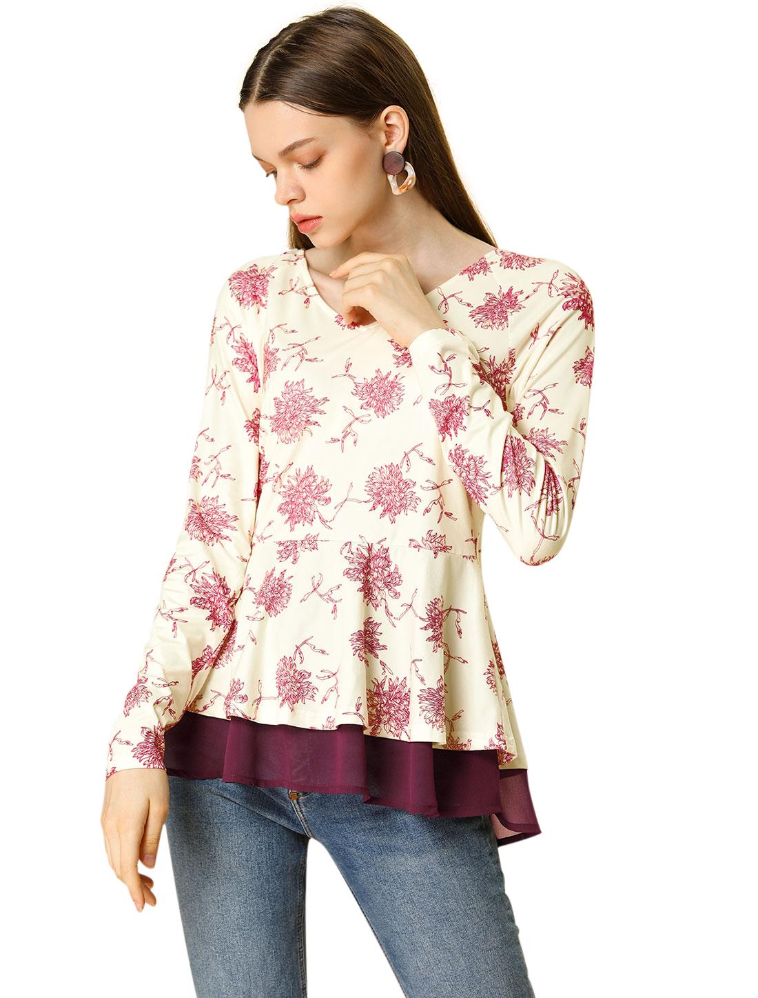 Allegra K Women's Floral V Neck Raglan Sleeve Ruffles Hem Loose Top Beige XL