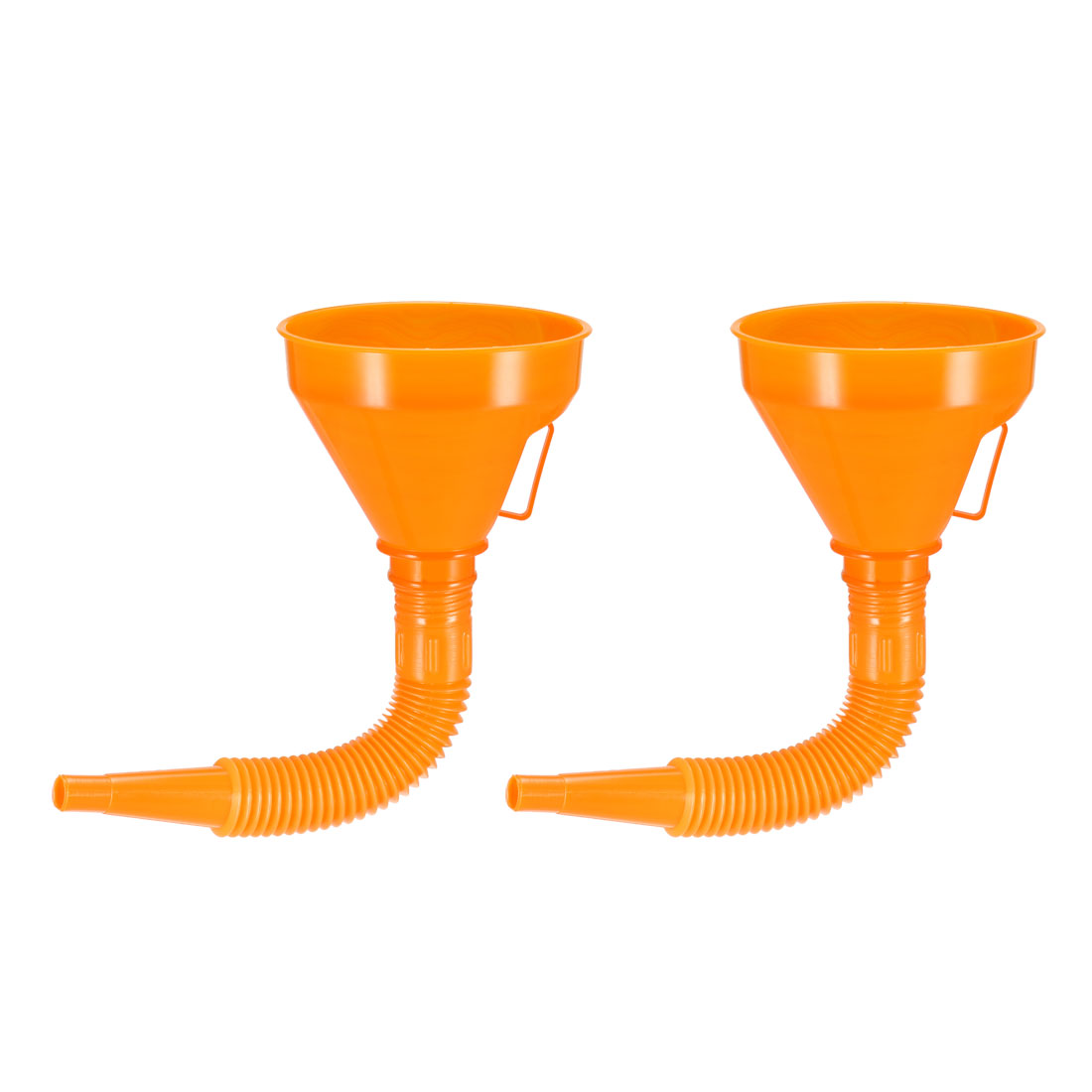 """Filter Funnel 5"""" Plastic Feul Funnel with Tube Orange for Engine Oil Water 2pcs"""