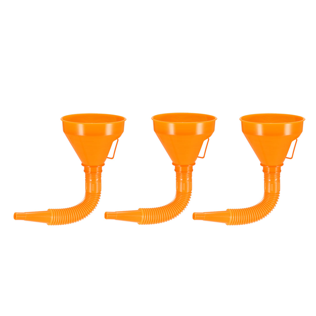 Filter Funnel 5inch Plastic Feul Funnel with Tube Orange for Oil Water Fuel 3pcs