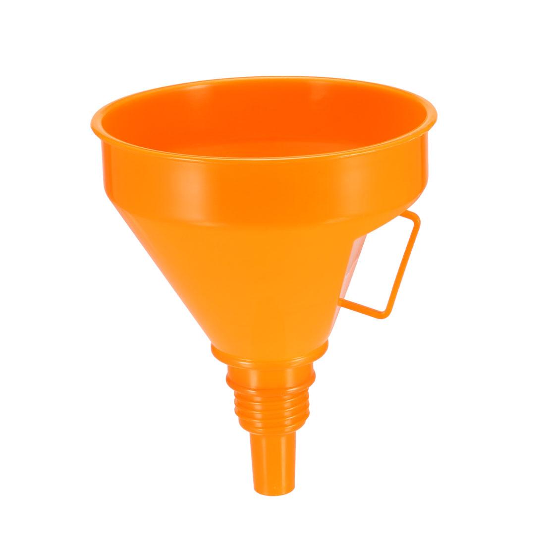 Filter Funnel 5 inch Plastic Feul Funnel Orange for Petrol Engine Oil Water Fuel