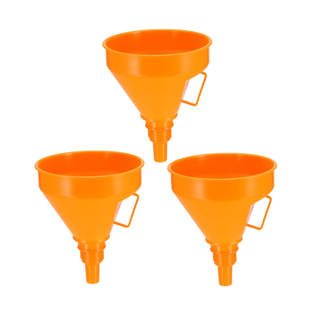 "Filter Funnel 5"" Plastic Feul Funnel Orange for Engine Oil Water Fuel 3pcs"