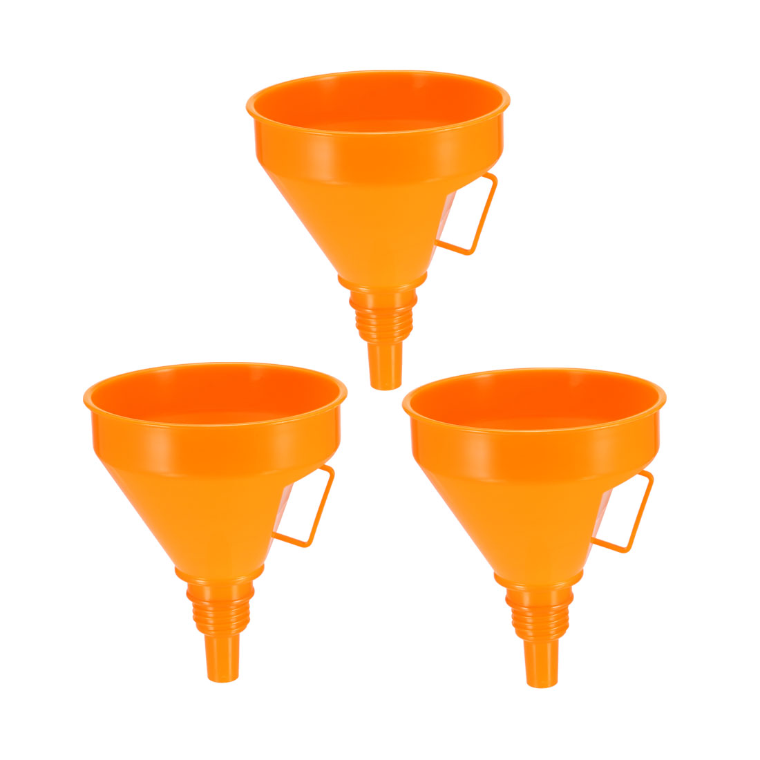 "Filter Funnel 5.3"" Plastic Feul Funnel Orange for Engine Oil Water Fuel 3pcs"