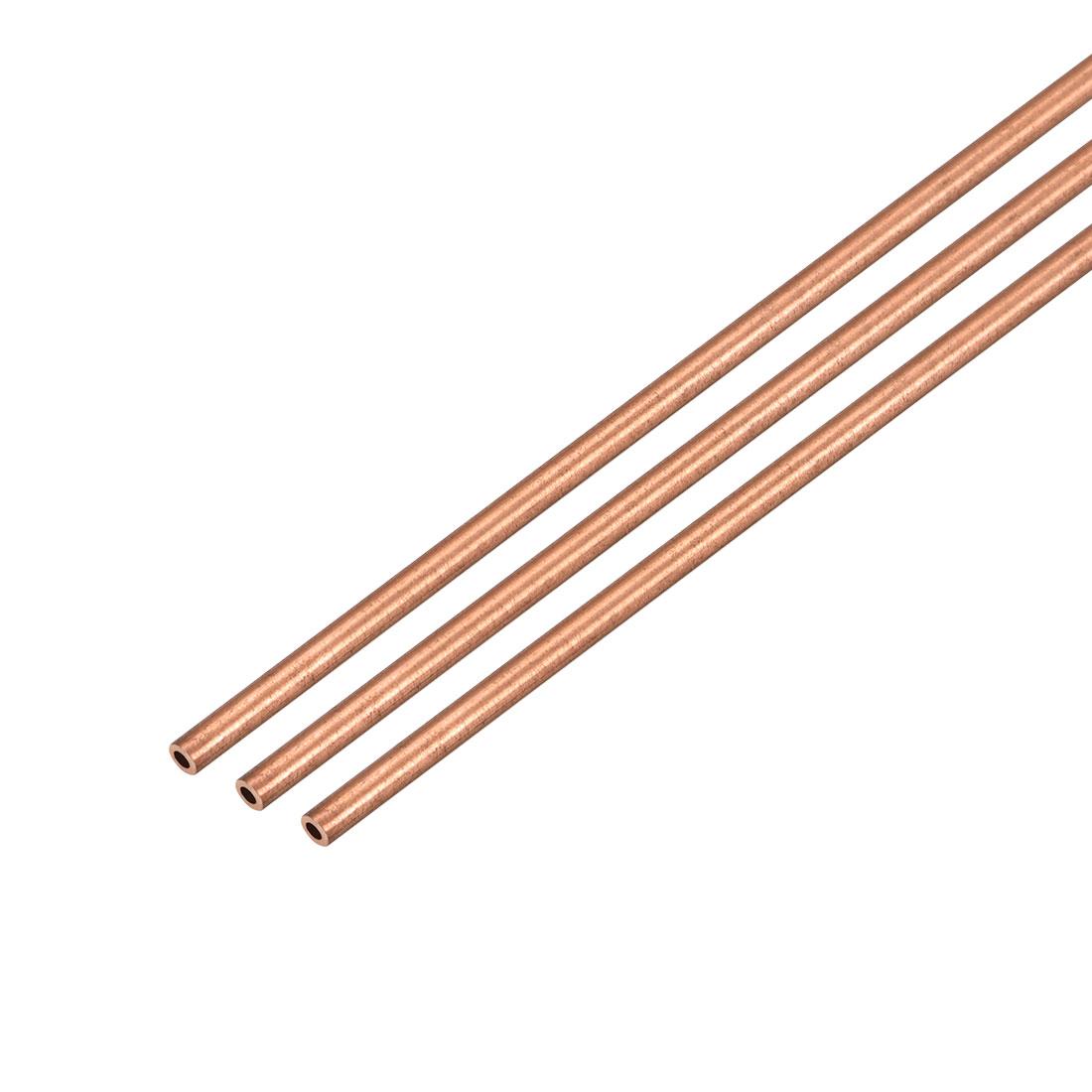 3Pcs 1.5mm Outside Diameter x 1mm Inside Diameter 500mm Copper Round Tube Pipe
