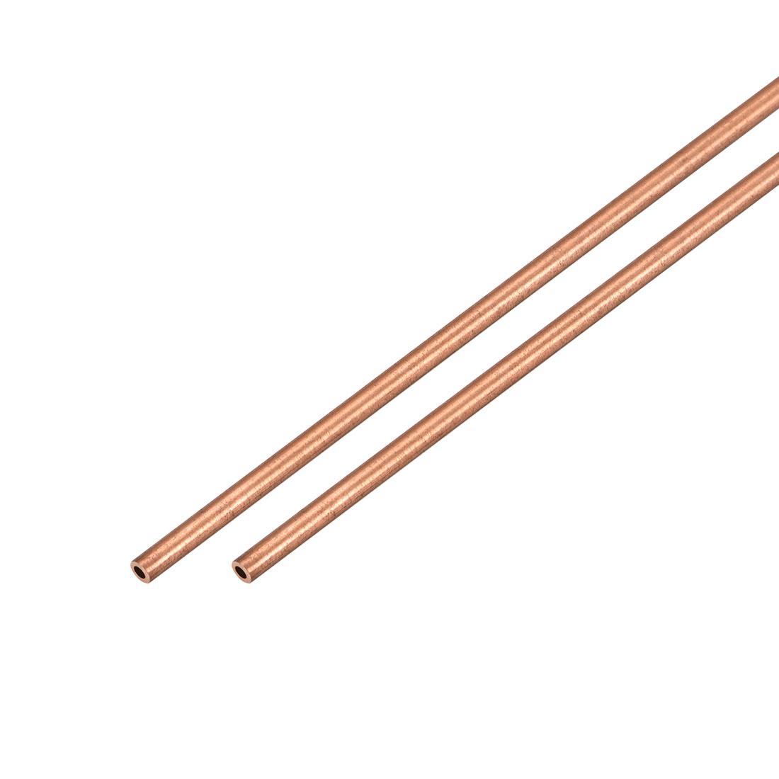 2Pcs 2mm Outside Diameter x 1mm Inside Diameter 500mm Copper Round Tube Pipe