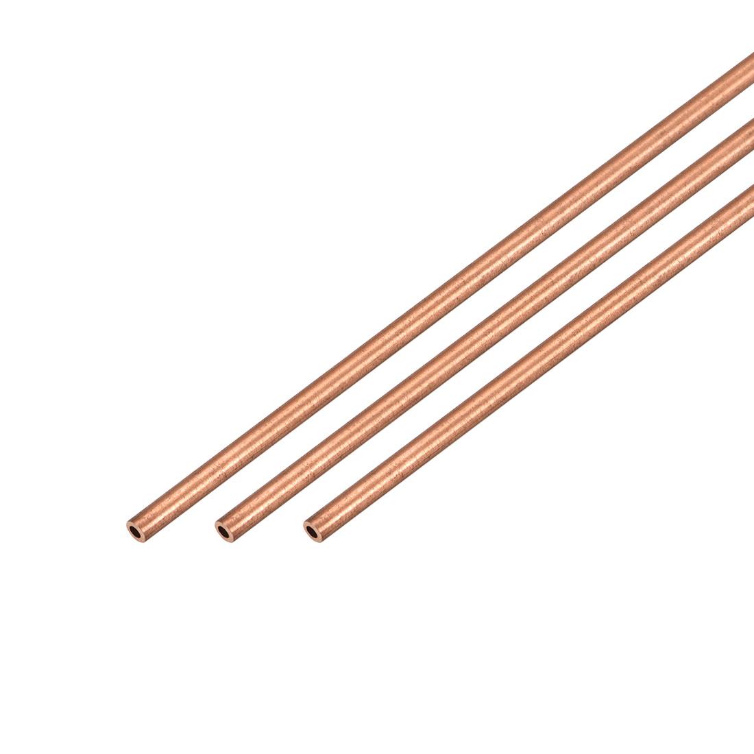 3Pcs 2mm Outside Diameter x 1mm Inside Diameter 500mm Copper Round Tube Pipe