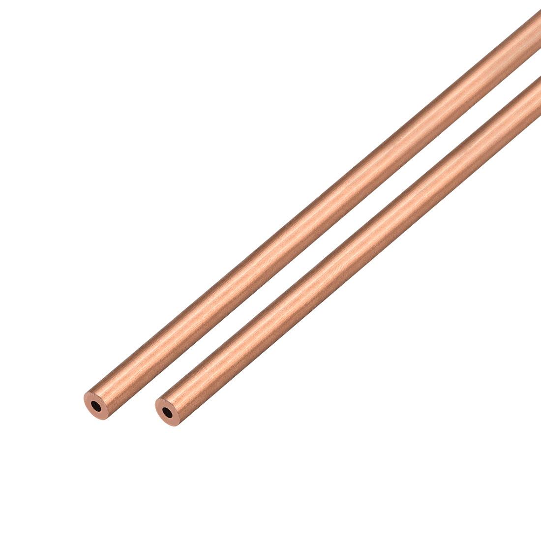 2Pcs 3mm Outside Diameter x 1mm Inside Diameter 500mm Copper Round Tube Pipe