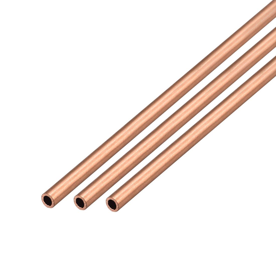 3Pcs 4mm Outside Diameter x 3mm Inside Diameter 500mm Copper Round Tube Pipe
