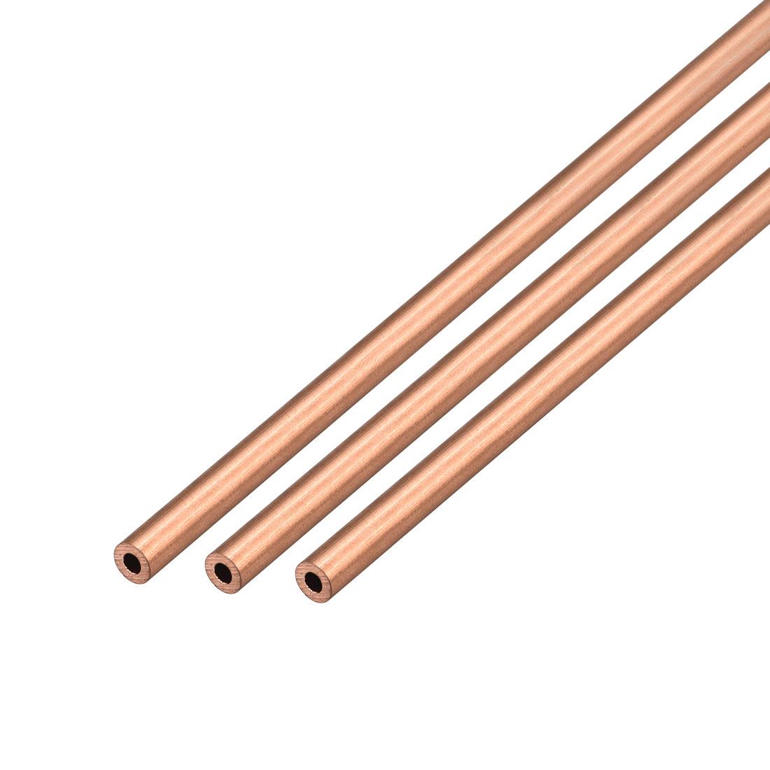 3Pcs 4mm Outside Diameter x 2mm Inside Diameter 500mm Copper Round Tube Pipe